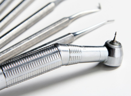 iamge of clean dental instruments including a drill