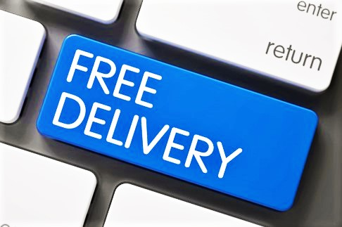 "image showing a computer keyboard with a key with the wording ""free delivery"""