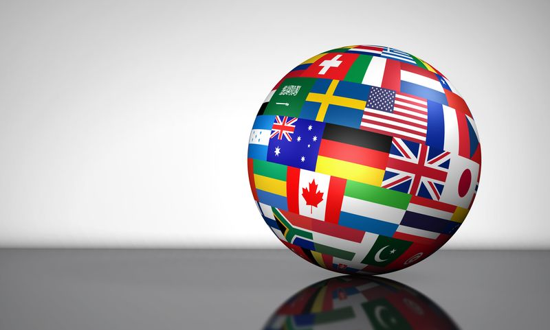 image of a globe covered in flags of the world to indicate we ship world wide.